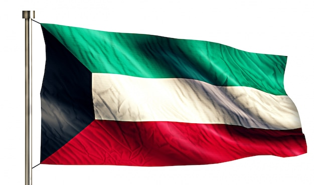 Kuwait national flag isolated 3d white background