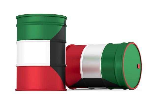 Kuwait oil styled flag barrels isolated on white