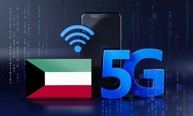 クウェートは5g接続の概念に対応しています。 3dレンダリングスマートフォン技術の背景