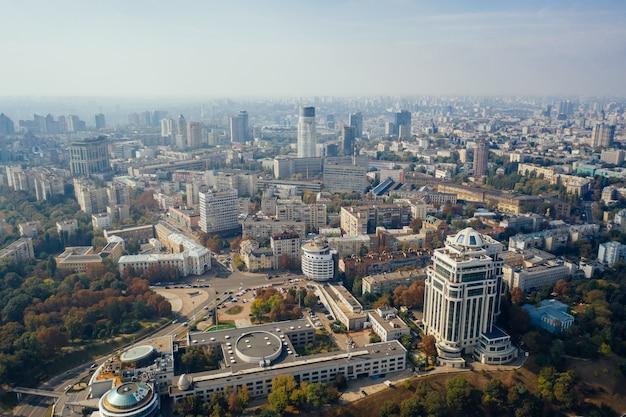Киев столица украины. с высоты птичьего полета.
