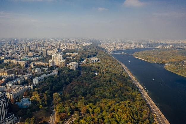 Kyiv capital city of ukraine. aerial view.