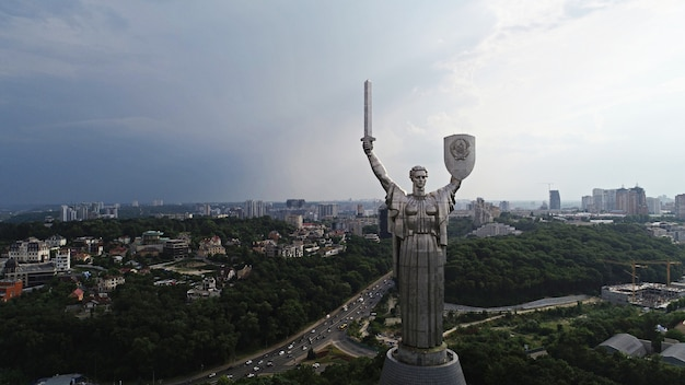 Kyiv - the capital of ukraine. aerial photography from drone. beautiful country with great and long history. european country. the motherland monument. huge statue
