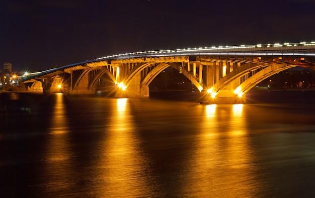 Kyiv metro bridge at night