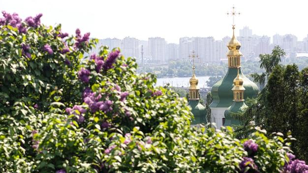 우크라이나 키예프 - 2019년 5월 10일: 키예프의 흐리시코 국립 식물원에 있는 비두비치 수도원, 드니프로 강, 라일락 꽃의 전망.