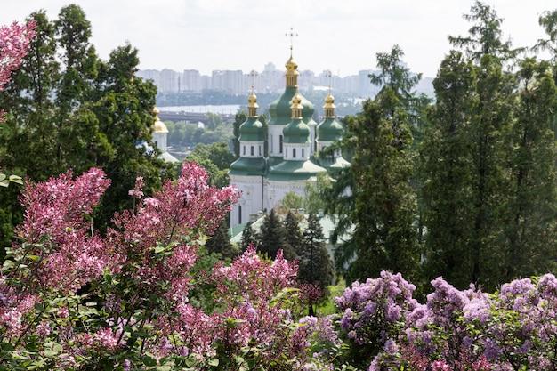 Киев, украина - 10 мая 2019 года: вид на выдубицкий монастырь, реку днепр и сиреневые цветы в национальном ботаническом саду имени гришко в киеве.