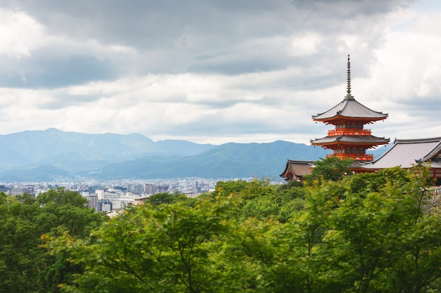 Kyoto city and red pagoda in summer