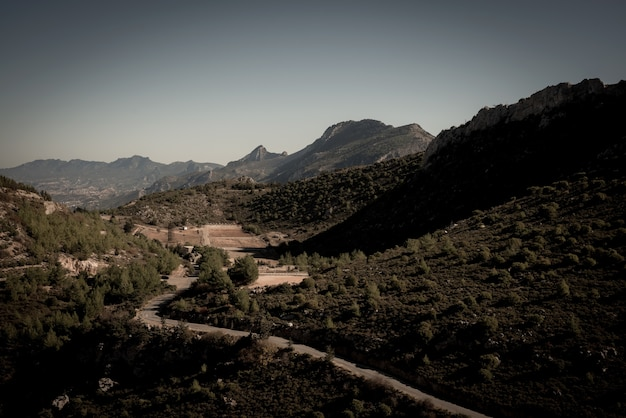 Kyrenia mountain range and road to st hilarion castle. kyrenia district, cyprus