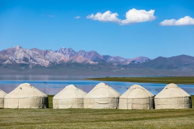 Kyrgyz yurts on the shore of mountain lake
