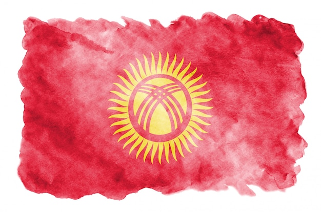 Kyrgyzstan flag is depicted in liquid watercolor style isolated on white