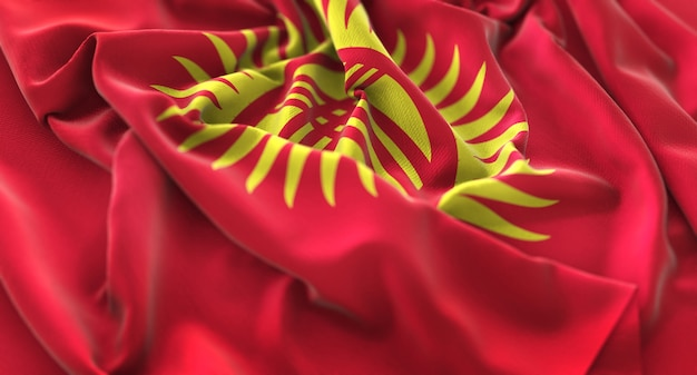 キルギスの旗がきれいにマクロ接写を振る