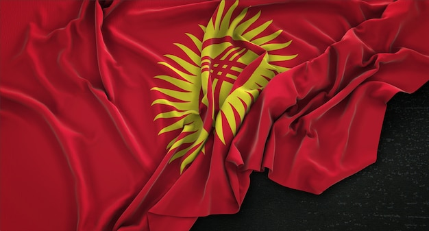 Bandiera kirghizistan rugosa su sfondo scuro 3d rendering