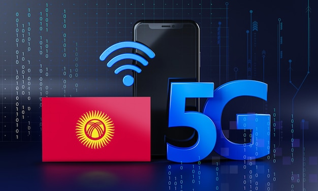 キルギスタンは5g接続コンセプトの準備ができています。 3dレンダリングスマートフォン技術の背景