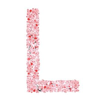 さくらの花のアルファベット。手紙l