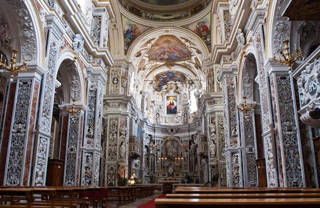パレルモ、シチリア島の教会la chiesa del gesuまたはcasa professaの内部