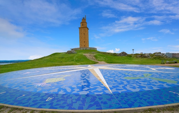 La coruna compass mosaic hercules tower galicia