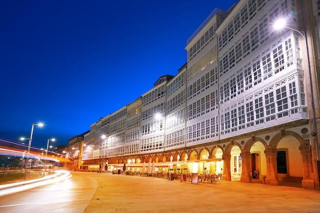 La coruna facades sunset near port in galicia