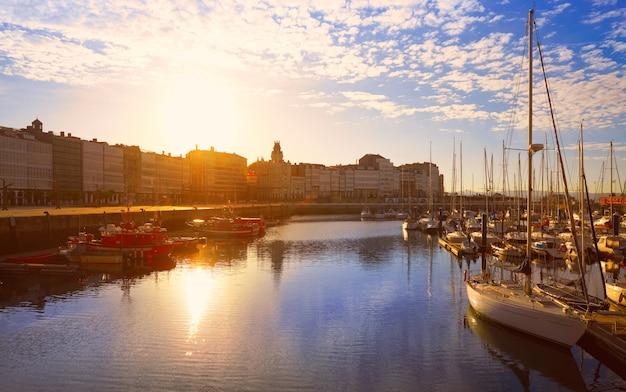 La coruna port sunrise in galicia of spain
