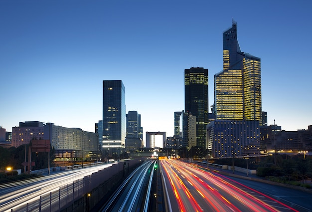 La defense district business in paris at night, france