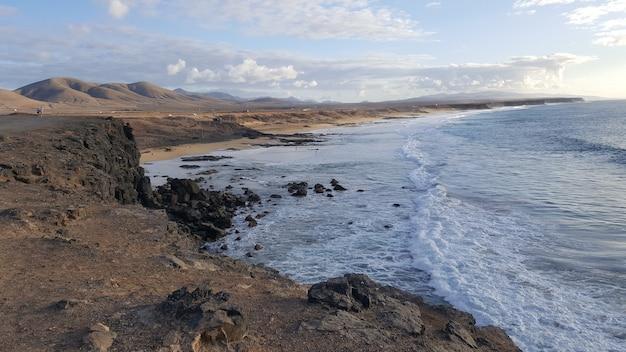 La pared volcanic beach or playa de la pared on fuerteventura