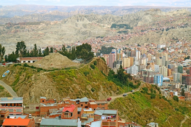 La paz of bolivia, the world's highest capital city at the elevation of 3,640 metres above sea level