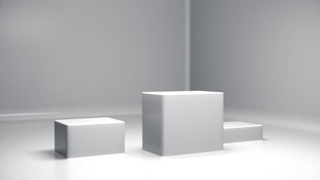 ディスプレイ用台座、デザイン用プラットフォーム、背景のlab.3dレンダリングを備えた空白の製品スタンド。