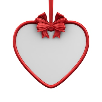 Label from heart with red ribbon and bow on white background. isolated 3d illustration