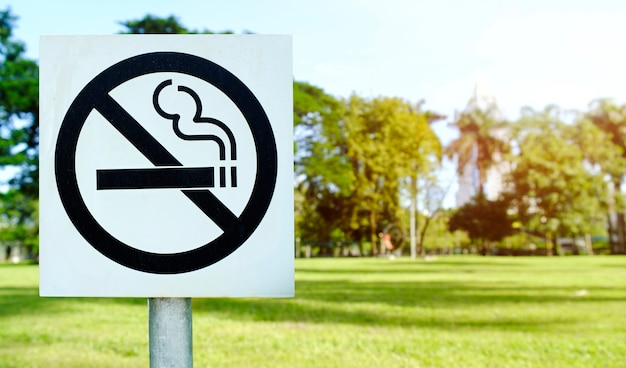 Label no smoking metal sign in the park