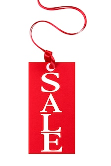 Label for sales, red color