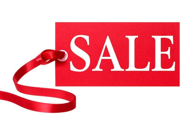 Tag prezzo di vendita con il nastro rosso