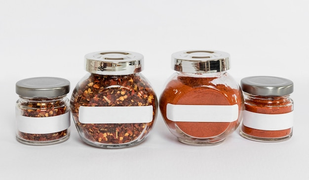 Labelled jars with different spices arrangement