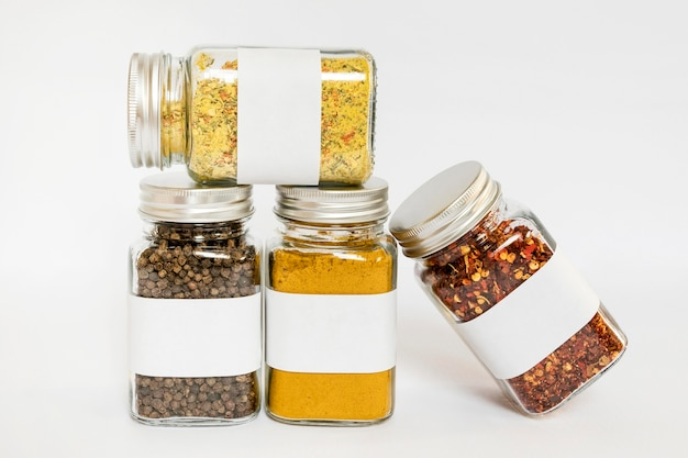 Labelled jars with spices arrangement