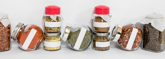 Labelling spices concept with jars