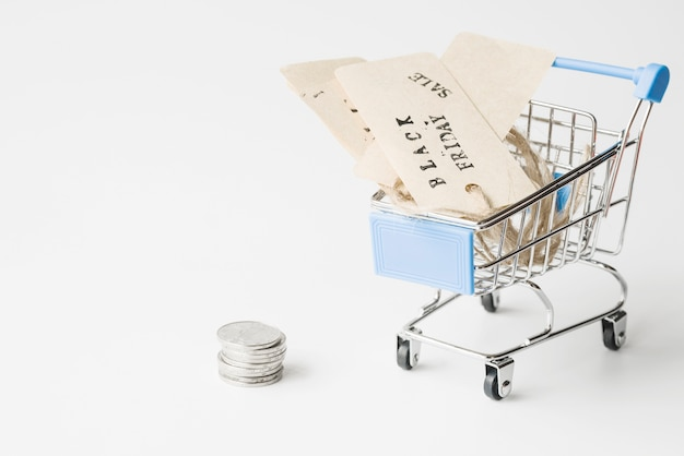 Labels in shopping trolley near coins