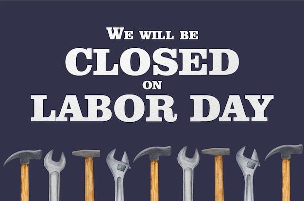 労働者の日。建設ツールの美しい図面。上からの眺め、クローズアップ。お祝いの準備。家族、親戚、友人、同僚の皆さん、おめでとうございます。