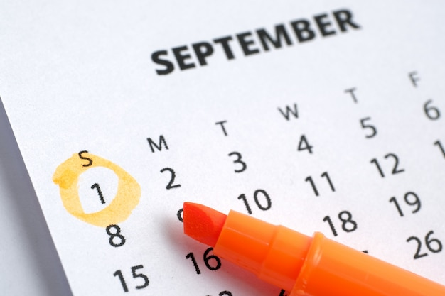 Labor day concept. the first of september is marked on the calendar 2019 with an orange marker.