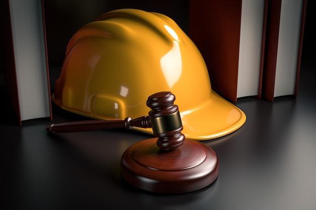 建設業界のビジネスコンセプトにおける労働法-黄色いヘルメットヘルメット、ガベル、テーブル上の法律書-3dレンダリング