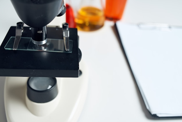 Laboratory assistant paper chemical solution analyzes