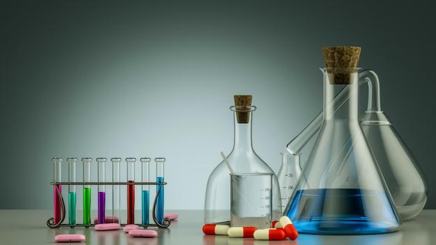 Лабораторное оборудование реалистичные 3d стеклянные трубки, колба, стакан и другая химическая и медицинская лаборатория