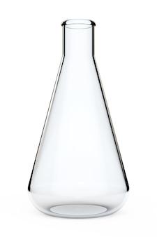 実験用ガラス器具。白い背景の上の化学フラスコ。 3dレンダリング。