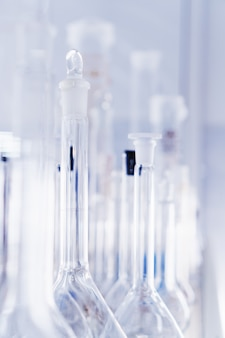 Laboratory glassware, test tubes and flasks for experiments and scientific discoveries. laboratory equipment