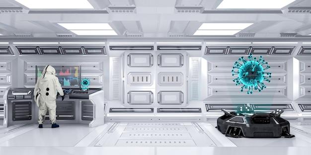 コロナウイルスまたはcovid193dレンダリングを表示するホログラムプロジェクターマシンを備えた未来の実験室scifi研究室で働く化学防護服を着た実験室科学者役員