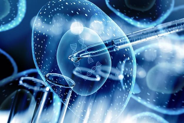 현미경 세포의 피펫 클로즈업 일러스트와 함께 실험실 튜브
