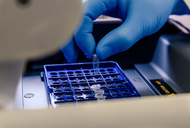 A laboratory worker arranging pipette tips in a blue container for a coronavirus testing