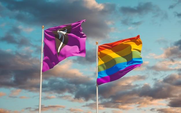 空の背景にラブリュスレズビアンとlgbtの旗