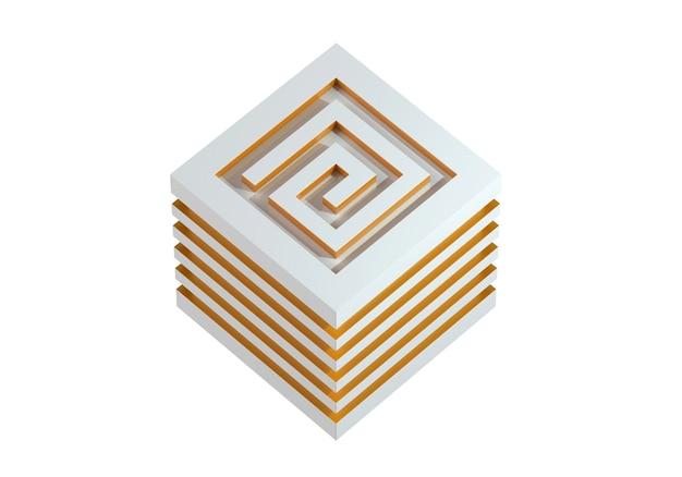 Лабиринт абстрактные 3d иллюстрации изометрические золотой лабиринт концепция куба, изолированные на белом