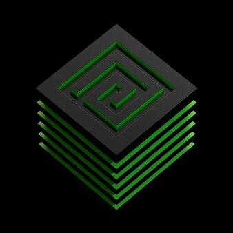 Лабиринт абстрактные 3d иллюстрации изометрические зеленый лабиринт концепция куба, изолированные на черном