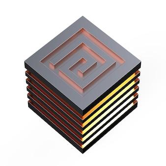 Лабиринт абстрактные 3d иллюстрации изометрические освещение лабиринт концепция куба изолированы