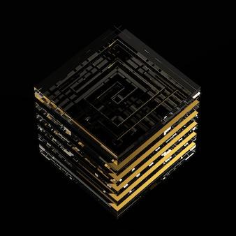 Лабиринт абстрактные 3d иллюстрации изометрические лабиринт концепция куба, изолированные на черном фоне