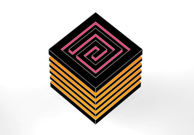 ラビリンス抽象的な3dイラスト白い背景の上の等尺性迷路キューブの概念