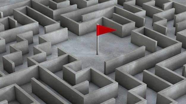 내부 미로와 붉은 깃발. 목표 개념으로가는 길을 찾는 방법. 3d 렌더링.